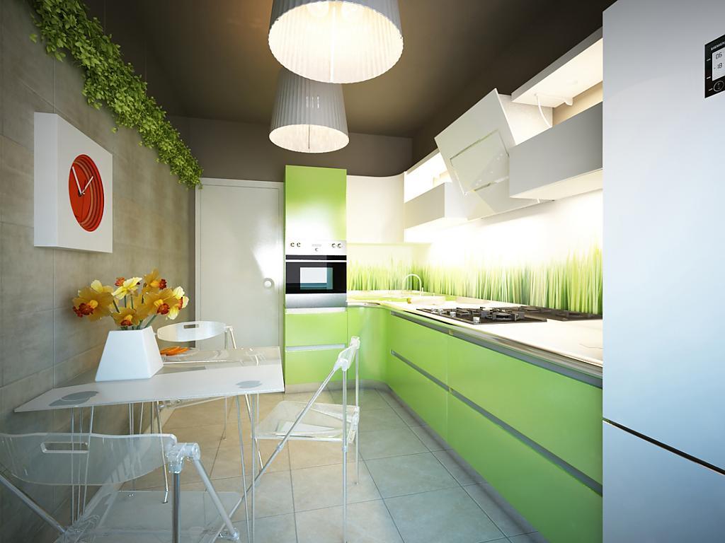Дизайн кухни в зелено-коричневом цвете