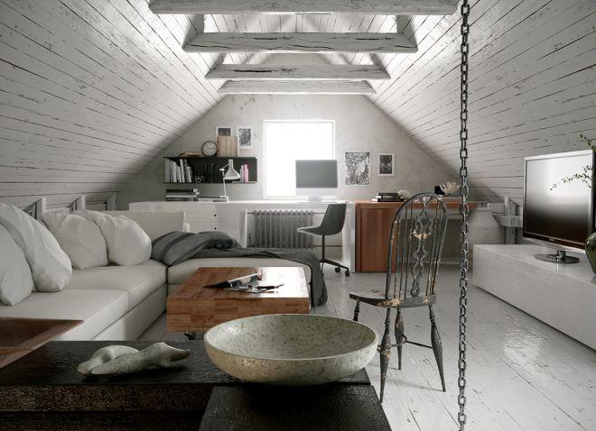 Modern tarzda yatak odası iç mekanı