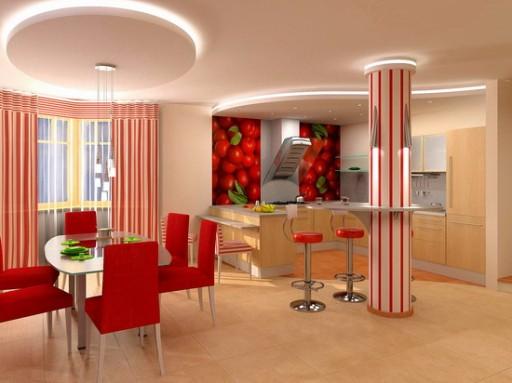 Idea Dapur Berkongsi Dan Ruang Tamu Foto Bilik Dengan Bar Marmar Warna Semulajadi Dalam Reka Bentuk A Moden