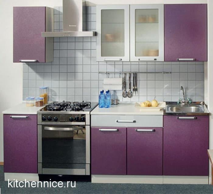 Dapur Dan Dinding Lavender Berwarna Coklat Masakan Putih Violet