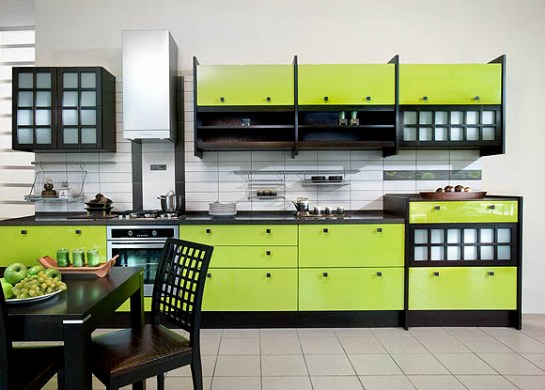 Di Bahagian Dalam Dapur Façade Warna Epal Hijau Dengan Perabot Wenge Dinding Beige Dan