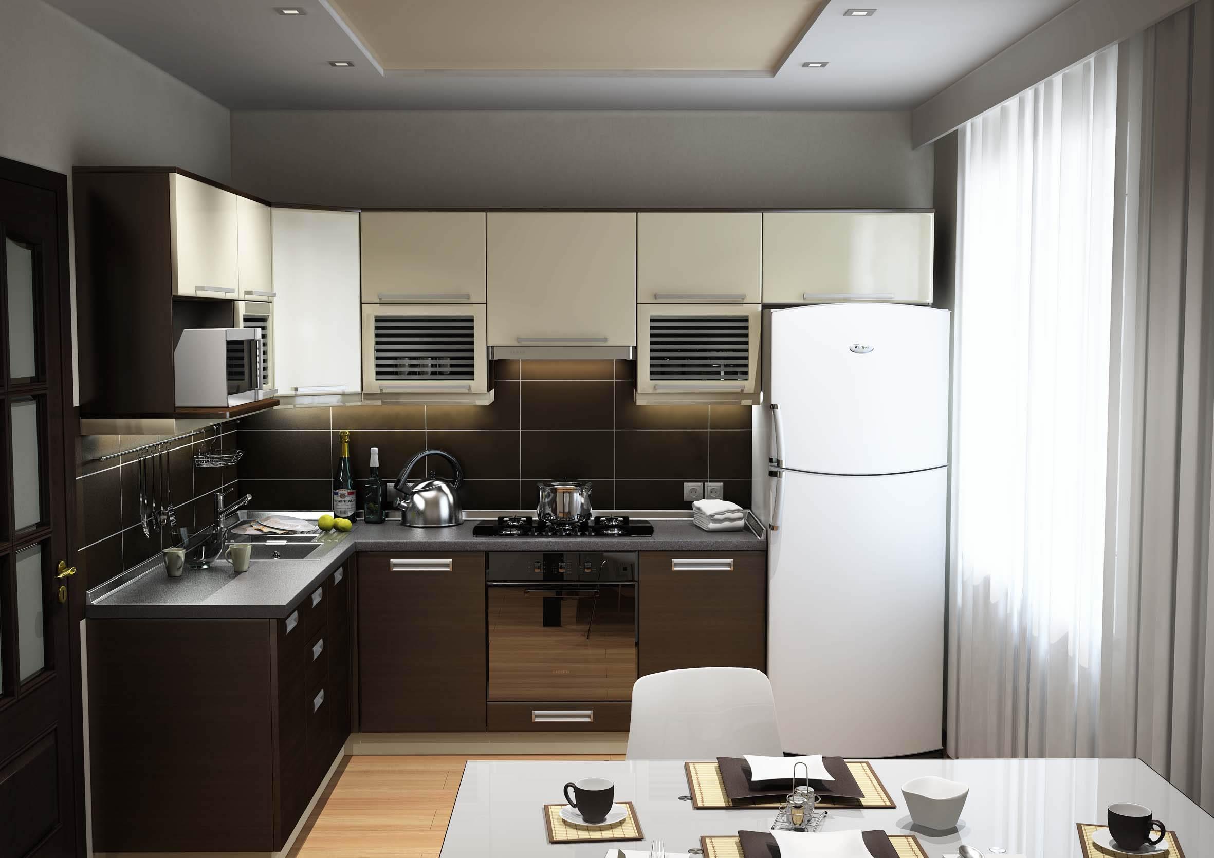 Mutfak iç cam. Apartmandaki alanı arttırmak için teknikler