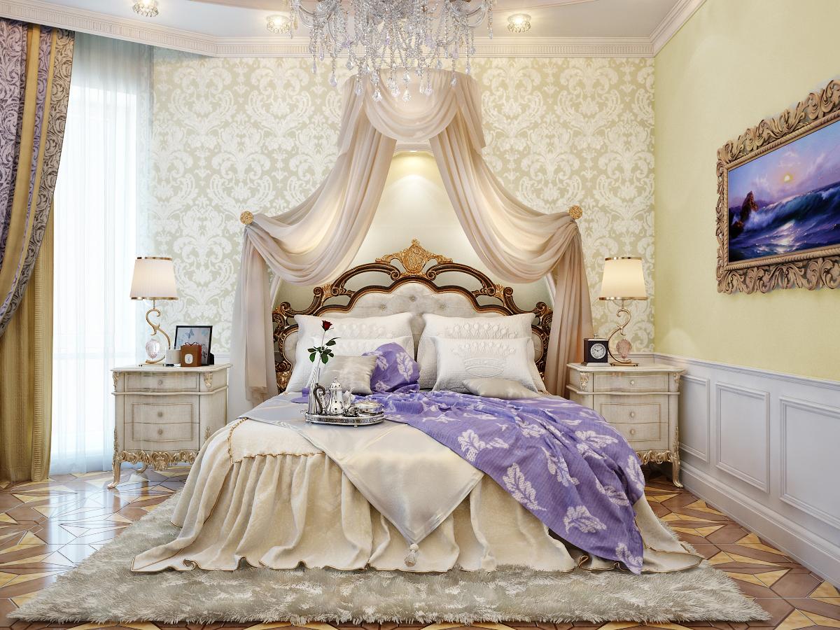 Ruang Bilik Tidur Dengan Lembut Menenangkan Nota Tradisional Splash Lilac Melalui Katil Raja Mencipta Kontras Penggunaan Sengit Bunga Krim
